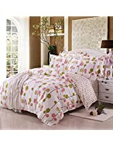 4pcs Summer Scent Cotton Reactive Printed Simple Style Bedding Set