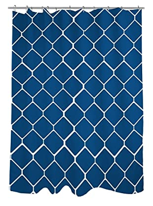 One Bella Casa Fence Shower Curtain, Navy/Ivory