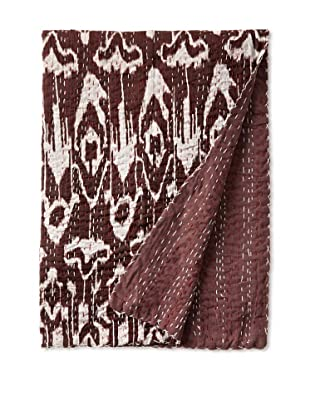 Ikat Bed Cover (Burgundy/White)