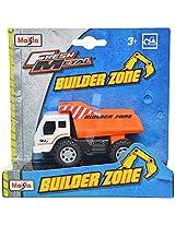 Maisto Builder Zone Dump Truck Die Cast Toy Truck (White & Orange)