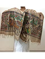 Chanchal Hand Painted Madhubani Brown Tassar Ghicha Dupatta