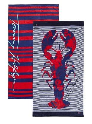 Tommy Hilfiger Set of 2 Stripe/Hibiscus Lobster Beach Towels