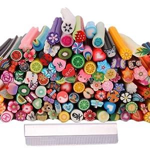 150pcs 3D Cute Designs Nail Art Fimo Canes Sticks Stickers Rods Gel Tips Manicure Decoration + Blade