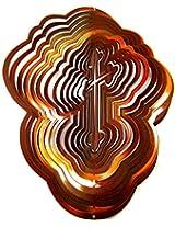 "Iron Stop 12"" 3 D Copper Wind Spinner Classic Designer Cross Powder Coated Metal + 2 Swivels"