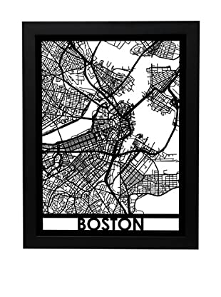 Cut Maps Boston Framed 3-D Street Map