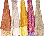 Lot of Five Wrap-Around Vintage Sari Magic Skirts - Art Silk
