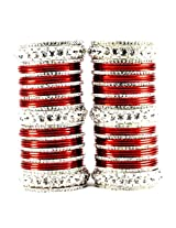 Vidhya Kangan Personalize Brass Metal Set Bangle - Red 2.1