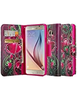 Samsung Galaxy S6 Edge Plus Case - Magnectic Leather Folio Flip Book Wallet Pouch Case Cover With Fold Up Kickstand and Detachable Wrist Strap (Purple Heart)