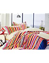 CnS MULTI COLOUR STRIPE BEDSHEET WITH PILLOW COVERS, 100% COTTON