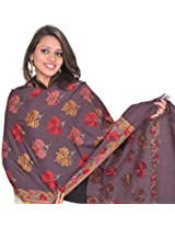 Exotic India Stole from Kashmir with Hand Embroidered Maple Leaves - Color Prune PurpleColor Free Size