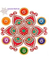 Ghasitaram Gifts Decorative Acrylic Rangoli 1513 with Diyas and Kaju Katli