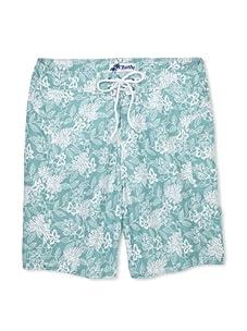 Trunks Men's Saltie Boardshorts (Floral Ferns Teal)