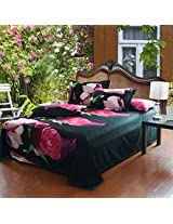 Four-piece Suit Polyester Fiber 3D Rose Floral Print Reactive Dyeing Bedding Set Queen King Size
