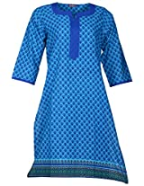 Bunkaari India Women's Cotton Regular Fit Kurti (00LK 20_42, Blue, 42)