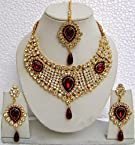 Fashion Women Necklace Earring Set With Maang Tikka Wedding Bride Gold Plated Jewelry set