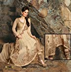 Beige Georgette Suit with Dupatta-6501 - A