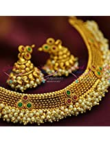Antique Gold Plated Fancy Trendy Pearl Necklace Jhumka Earrings
