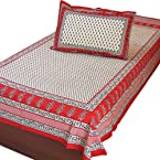 Jaipur Cotton Single Bed Sheet Bedcover Pillow Cotton Bedsheet SKU DLI3SBS408
