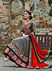 Long Gown Style Grey Top & Red Dupatta Faux Georgette Top With Santoon Bottom & Bemberg Chiffon Dupatta Heavy Embroidery Work With Stone Work Anarkali Salwar Kameez Suit