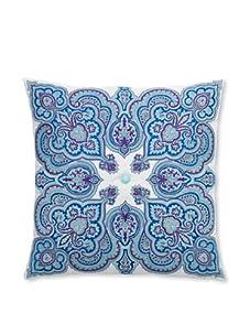 """Peking Handicraft Potala Embroidered Linen Pillow, Blue, 20"""" x 20"""""""