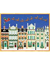 Entertaining with Caspari Santa and Sleigh Over Townhouses Christmas Cards (Box of 16)