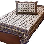Little India Hand Block Print Cotton Single Bed Sheet Set - DLI3SBS405