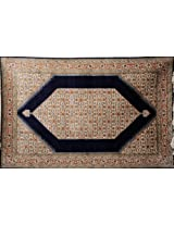 Navy-Blue Carpet from Kashmir with Knotted Flowers All-Over