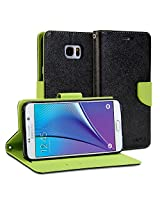 Galaxy Note 5 Case, GMYLE Wallet Case Classic for Galaxy Note 5 V SM-N920 - Black & Wasabi Green PU Leather Slim Stand Case Cover
