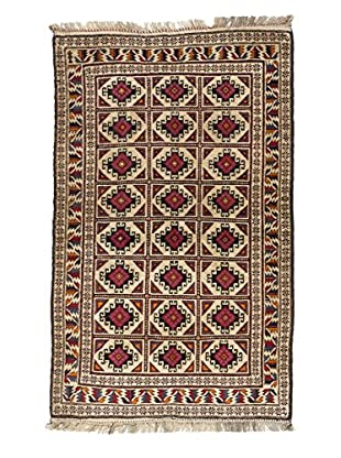 eCarpet Gallery One-of-a-Kind Hand-Knotted Royal Baluch Rug, Cream/Brown, 4' x 6' 7