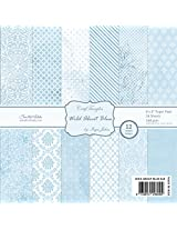 "CrafTangles Scrapbook and Craft Paper Pack - Wild About Blue (Size 8""X8"") 12 Designs 24 Sheets For Card & Scrapbooking"