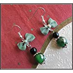 [E17B_006] Green Bow Earrings 01