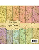 CrafTangles Scrapbook & Craft paper pack - Aged Roses (6 by 6 Patterned Paper)
