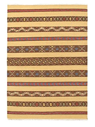 Hand Woven Izmir Wool Kilim, Khaki, 4' 7