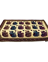 Little India Kantha Embroidery Thread Work Cotton Single Bed Cover - Beige  (DLI3SBS508)