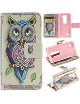 LG Tribute 2 Case LG Tribute 2 Kickstand Case,Tribe-Tiger Stylish Tribe Energetic Owl Design Premium Leather Magnet Slim Flip Kickstand Case Cover for LG Tribute 2