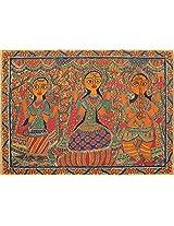 Exotic India Saraswati, Lakshmi and Ganesha - Madhubani Painting on Hand Made Paper - Folk Painting