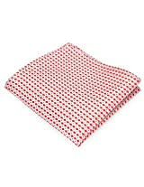 PenSee 100% Silk Woven Geometric Red & Pink Pocket Square