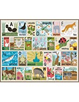 Oopsy Daisy Modern Alphabet on Chocolate Stretched Canvas Wall Art by Lisa DeJohn, 30 by 24-Inch