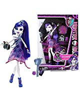 "Mattel Year 2011 Monster High ""Dot Dead Gorgeous"" Series 10 Inch Doll Spectra Vondergeist ""Daughter Of A Ghost"" With Purse, Cosmetic Mirror, Hairbrush And Doll Stand"