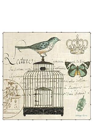 "Kathryn White Bird Botanical No. 1 Hand-Embellished Canvas, 35"" x 35"""