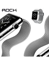 Apple Watch Band, ROCK® [38MM Milanese Loop Style] Stainless Steel Mesh Flexible Classic Buckle Replacement Strap Wrist Band with Metal Adapter Clasp for iWatch Apple Watch & Sport & Edition - Silver