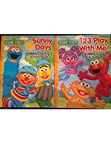 Sesame Street Set Of Two Jumbo Coloring And Activity Books (Sunny Days & 123 Play With Me