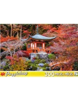 Puzzle Bug 300 Piece Puzzle ~ Red Autumn Leaves And Temple, Japan
