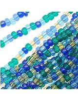 Beadaholique Czech Aquas Seed Beads Mix, Size 11/0, Lagoon Blue