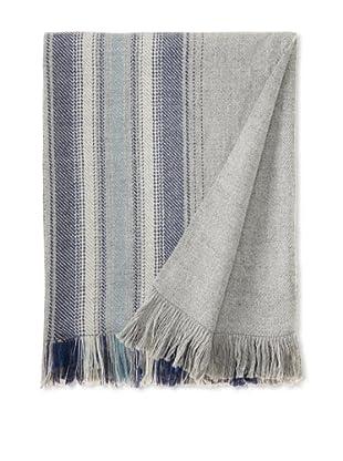 Nomadic Thread Society Alpaca Blanket, Silver/Grey/Blue
