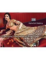 Deepika Padukone Gold Wedding Awesome Designer 3 Pic Hand Worked Lengha Choli