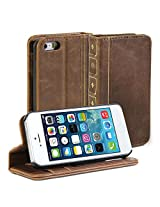 iPhone SE Case, GMYLE Book Case Vintage for iPhone SE - Brown PU Leather Stand Case Cover