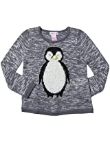 Design History Little Girls' Penguin Top (Toddler/Kid)-Tin/White - 6