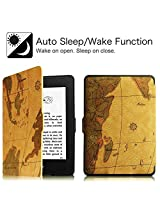 Amazon Kindle Paperwhite Case Cover, PREMIUM Brown Map Lightest Thinnest Protective Leather Case Cover with Auto Wake/Sleep for Amazon Kindle Paperwhite 2012, 2013, 2014 and 2015 New 300 PPI