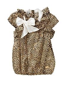 Roberto Cavalli Angels Girls' Ruffle Bow Top (Leopard)